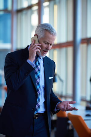 business people meeting: senior business man talk on mobile phone  at modern bright office interior Stock Photo