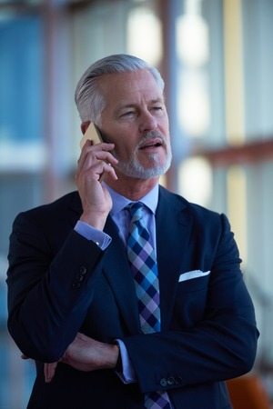 businessman in office: senior business man talk on mobile phone  at modern bright office interior Stock Photo