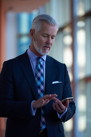 man in suit: senior business man talk on mobile phone  at modern bright office interior Stock Photo
