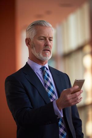 busy beard: senior business man talk on mobile phone  at modern bright office interior Stock Photo