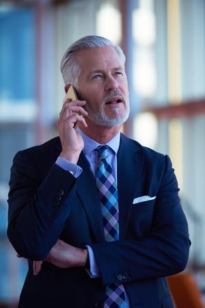 mature businessman: senior business man talk on mobile phone  at modern bright office interior Stock Photo