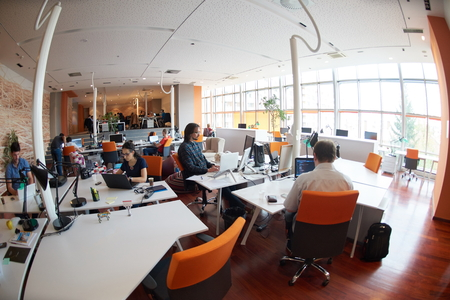 programmer computer: startup business people group working everyday job  at modern office