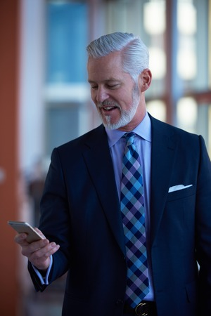 mature men: senior business man talk on mobile phone  at modern bright office interior Stock Photo