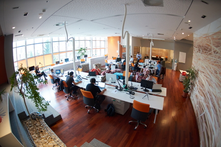 software company: startup business people group working everyday job  at modern office