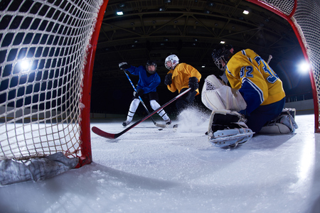 arena: ice hockey goalkeeper  player on goal in action