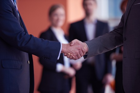 business partners, partnership concept with two businessman handshake Stock Photo