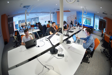 startup business people group working everyday job  at modern office photo