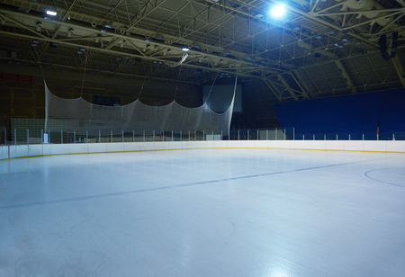 rink: empty ice rink, hockey and skating arena  indoors