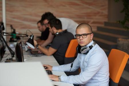 developer: startup business, software developer working on computer at modern office