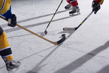 rink: ice hockey sport players in action, business comptetition concpet, teen girls on training Stock Photo
