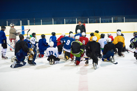world player: ice hockey players team group meeting with trainer  in sport arena indoors Editorial