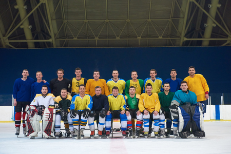 indoors: ice hockey players team group portrait in sport arena indoors