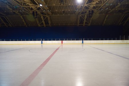 ice arena: empty ice rink, hockey and skating arena  indoors