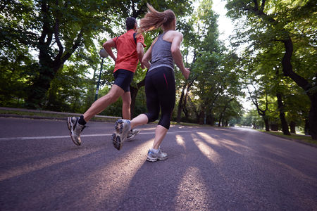 urban sports healthy couple jogging Stock Photo - 46324343