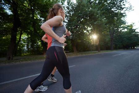 outdoor sport: urban sports healthy couple jogging