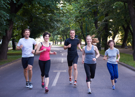 people group jogging, runners team on morning training