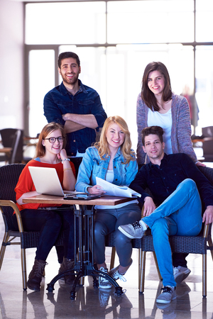 teamwork business: students group standing together as team  in modern school university, teamwork business concept