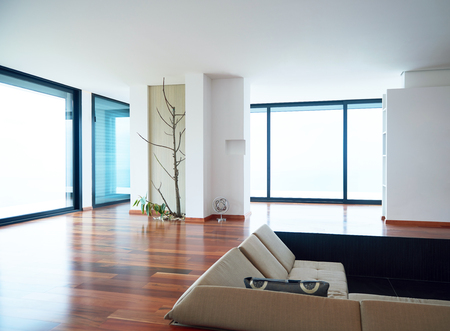 luxury apartment: Architecture, Interior, modern apartment, wide living room in bright home Stock Photo