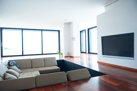 modern living room: Architecture, Interior, modern apartment, wide living room in bright home Stock Photo