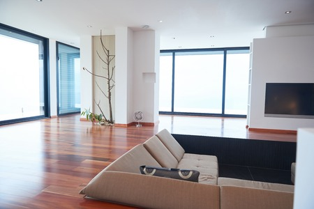 modern interior: Architecture, Interior, modern apartment, wide living room in bright home Stock Photo
