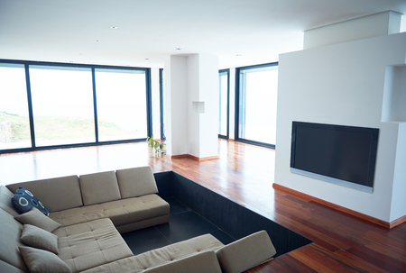 architecture: Architecture, Interior, modern apartment, wide living room in bright home Stock Photo