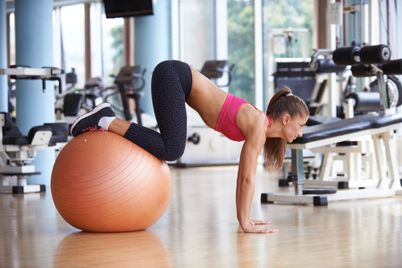pilates: woman exercise pilates in fitness gym club