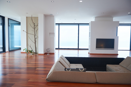 Architecture, Interior, modern apartment, wide living room in bright home Stok Fotoğraf