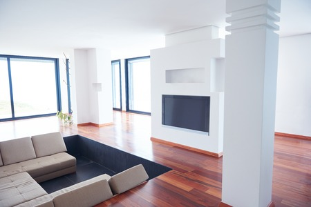 architectures: Architecture, Interior, modern apartment, wide living room in bright home Stock Photo