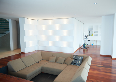 apartment living: Architecture, Interior, modern apartment, wide living room in bright home Stock Photo