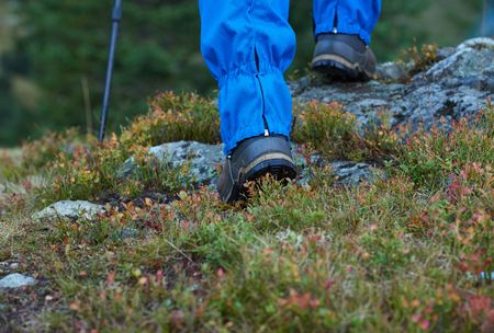 hiking boots: hiking man with trekking boots on the trail in height mountains