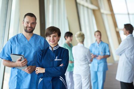 standing together: group of medical staff at hospital, doctors team standing together