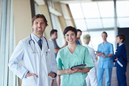 group of medical staff at hospital, doctors team standing together