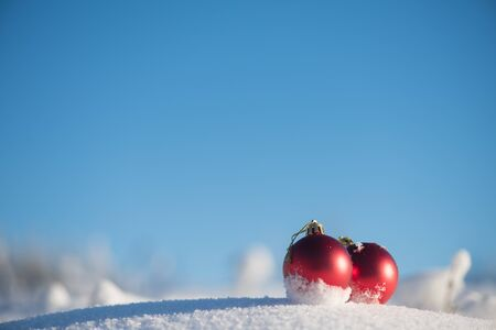 glass christmas tree ornament: christmas red balls decoration in fresh snow background on beautiful sunny winter day Stock Photo