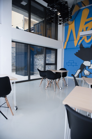 co work: startup business office interior details, bright modern working space