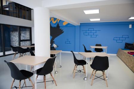 Inicio oficina de negocios detalles de la oficina, brillante espacio de trabajo moderno