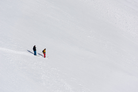 powder snow: extreme freeride skier skiing on fresh powder snow in downhill at winter mountains