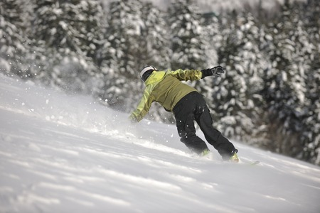 powder snow: snowboarder woman enjoy freeride on fresh powder snow on beautiful sunny winter morning