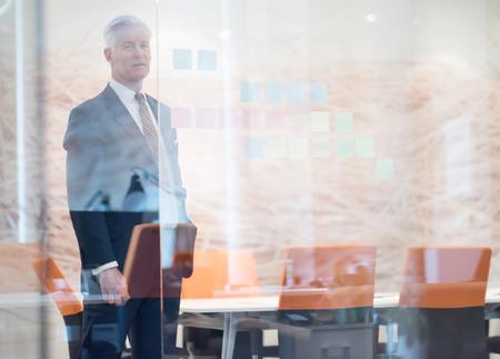 近代的なオフィスのミーティング ルームのインテリアでハンサムなシニア ビジネスの男のポートレート