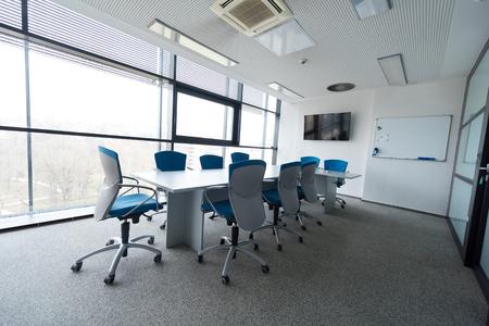 big windows: interior of new modern office meeting room with big windows