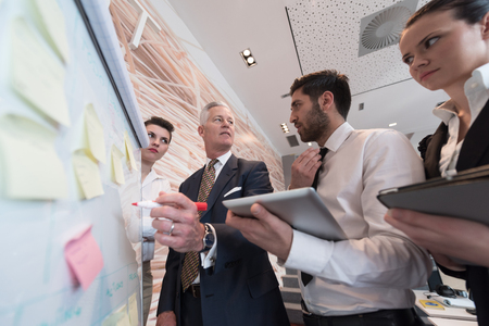 les gens d'affaires groupe de réflexion sur la satisfaction et homme d'affaires présentant des idées et des projets sur flipboard au gestionnaire de ceo supérieur, patron donnant tâche et des projets aux employés