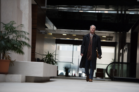 sucessful: handsome and sucessful senior business man walking in modern office interior