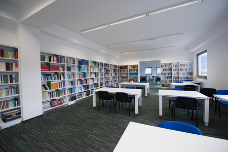 public library: new school library interior, education and database archive concept