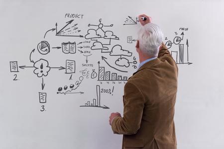 the elderly tutor: portrait of confident teacher solving problems on whiteboard in classroom