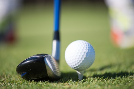 game drive: golf club and ball in grass on course preparing for shot