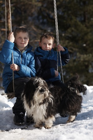 beautiful boys: portrait of two little boys with slides  in nature at beautiful sunny winter day with fresh snow