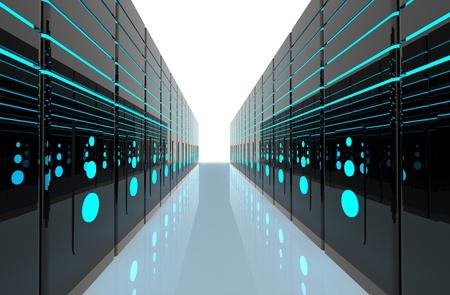 Sala server di rete di computer rendering 3D che rappresenta internet e società di hosting e data center concept Archivio Fotografico - 65216564