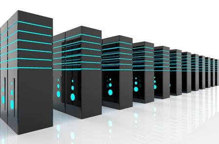 computer network server room 3d render representing internet and hosting company and data center concept Reklamní fotografie