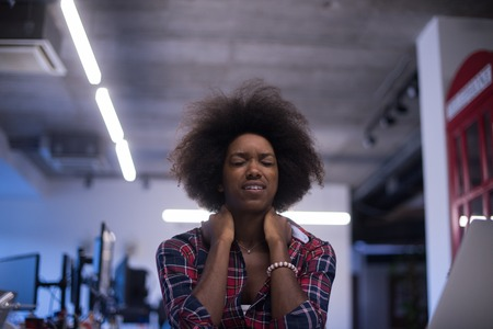 young black woman at office workplace have problems