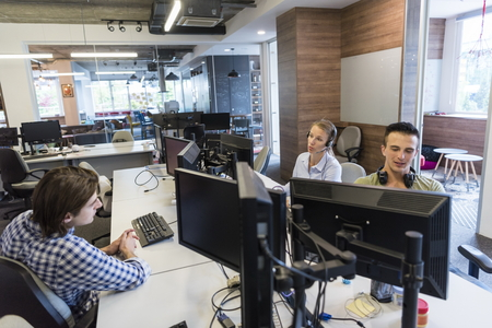 business office: young business people at modern office workplace  getting social in free time