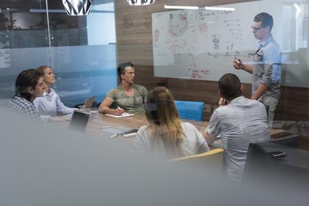 démarrage de remue-méninges de l'équipe d'affaires sur réunion de travail sur ordinateur portable et ordinateur tablette